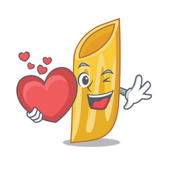 With heart penne pasta character cartoon vector