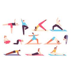 yoga people men and women do stretch exercises vector image