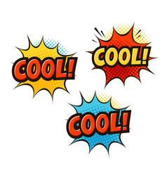 cool in pop art retro comic style cartoon slang vector image