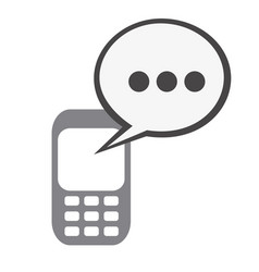 silhouette tech cellphone and dialog box icon flat vector image vector image