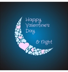 Valentines card background with the moon made from vector image