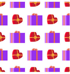 wrapping paper with red and violet gift boxes vector image