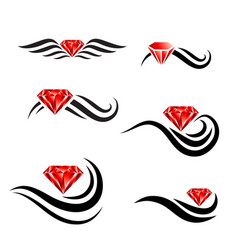 Beauty hair diamond salon logo design set vector