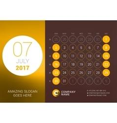 July 2017 Desk Calendar for 2017 Year vector image