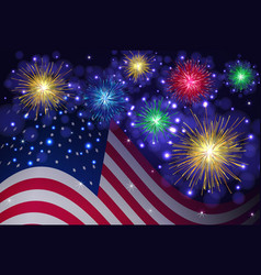 american flag and independence day fireworks vector image vector image