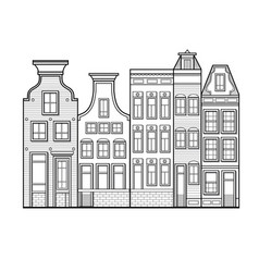 amsterdam houses style netherlands vector image vector image