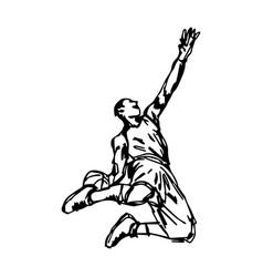 Basketball player making slam dunk vector