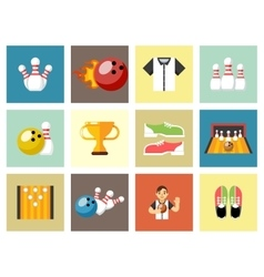 Bowling flat icons Game signs vector image