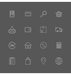 Contour internet shopping icons set vector image vector image