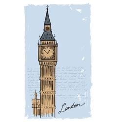 hand drawn Big Ben vector image vector image