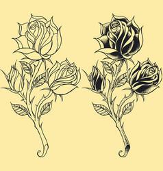 Roses oldskool tattoo style element vector