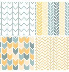 Set of four gray yellow chevron patterns and vector image vector image