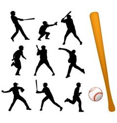 baseball players silhouettes vector image