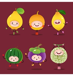 Collection of cartoon fruits vector image