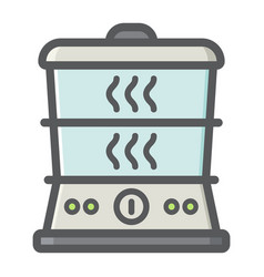 Food steamer colorful line icon kitchen appliance vector