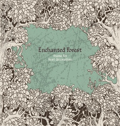 Frame for text decoration dark enchanted forest vector