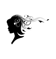 head of a girl with floral hair vector image