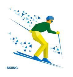 winter sports - skiing skier running downhill vector image