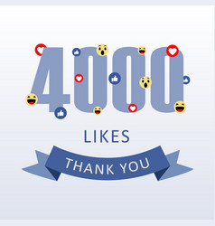 4000 likes thank you number with emoji and heart vector
