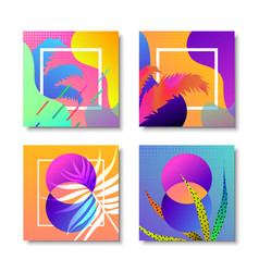 Abstract modern memphis retro background set vector