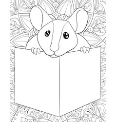 Adult coloring bookpage a cute rat in a box vector