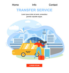 airport transfer service flat landing page vector image