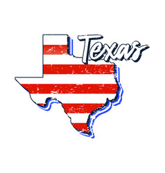 american flag in texas state map grunge style vector image