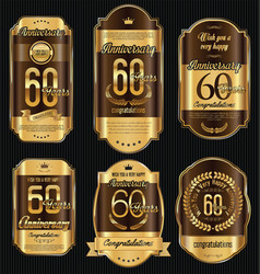anniversary golden retro vintage labels vector image