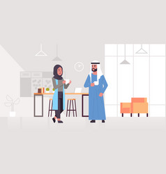 Arabic businesspeople couple drinking cappuccino vector