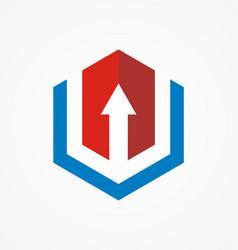 arrow polygon business company logo vector image
