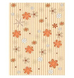 Background brown polka dots and flowers vector image