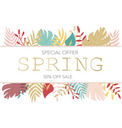 banner with sale information in floral leaves vector image