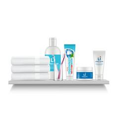 bathroom shelf realistic white towel cosmetic vector image