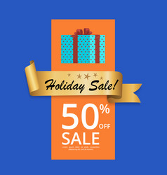 best holiday sale 50 off present box gold label vector image