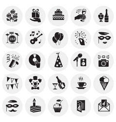 birthday party icons set on circles background for vector image