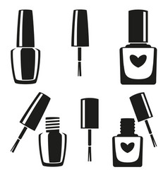 black and white nail polish silhouette set vector image