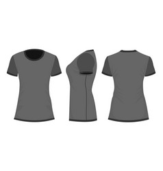 blackdark gray womans t-shirt in back front and vector image