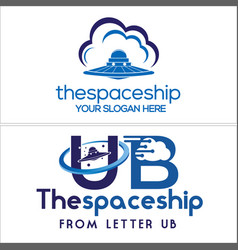 Blue symbol logo with spacecraft cloud line tech vector