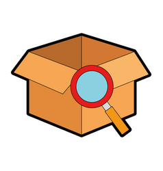 box with magnifying glass isolated icon vector image