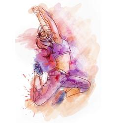 Bright watercolor dancer vector