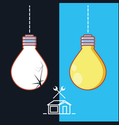 Bulb with home repair icons vector