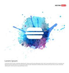 Burger icon - watercolor background vector