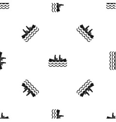 Canoeing pattern seamless black vector