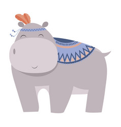 cartoon hippo indian a vector image