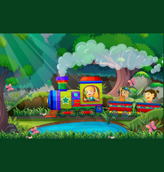 Children ride on train in woods vector