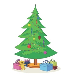 Christmas tree with toys and gift boxes vector