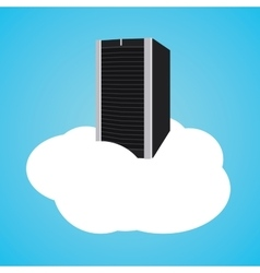 cloud server with clouds and database vector image