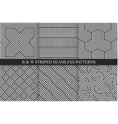 Collection of seamless striped patterns black and vector