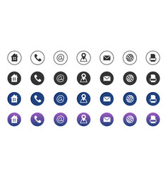 Contact icons information business communication vector