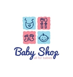cute baby shop logo in doodle style Kids vector image vector image